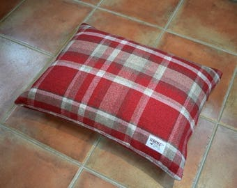Luxury Pillow Dog Bed - Highland Tartan Collection in Regal Red from Designed for Dogs