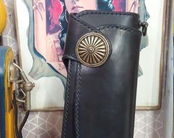 handmade wallet leather biker&long wallet