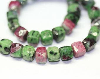 """Rare BiColor Ruby Zoisite Faceted Box Square Cube Gemstone Beads Strand 7mm 8"""""""