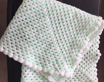 Mint and White Sparkle Baby Blanket