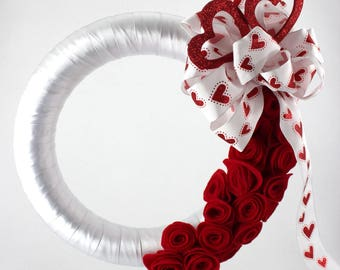 Red Roses and Hearts Wreath
