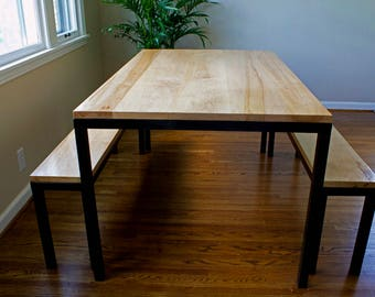 Modern Solid Maple & Steel Dining Table Set