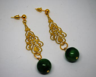 EARRING filigree pendant in brass and plated brass pin 9 with jade stone