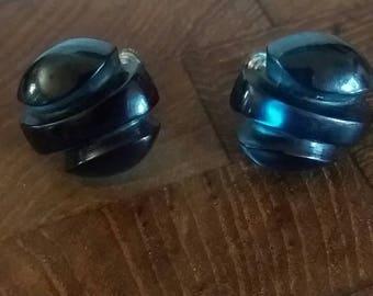 Vintage Blue Clip On Screw Back Earrings  Hard Plastic