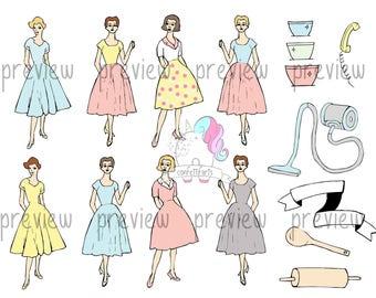 50's Housewife Theme Clip Art