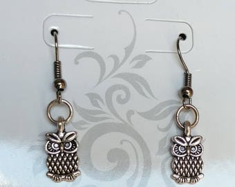 Silver owl earrings