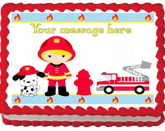 FIREFIGHTER Firetruck edible cake topper party image