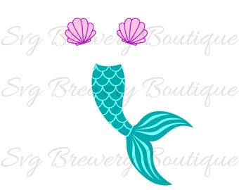 Mermaid tail, clam, shell SVG (layered), PNG, DXF for cricut, silhouette studio, vinyl decal, t shirt design, scrapbooking, stencil template