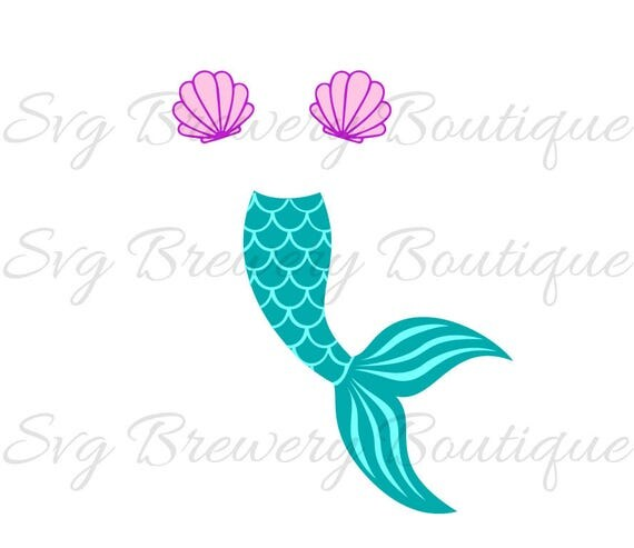Mermaid Tail Clam Shell Svg Layered Png Dxf For Cricut