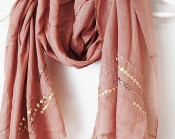 DV Pink Embellished Scarf