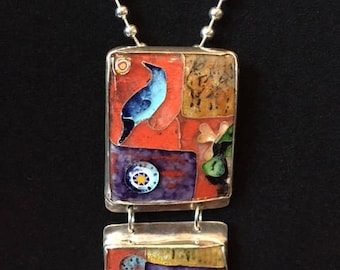 Sterling and Enamel Pendant/Pin necklace