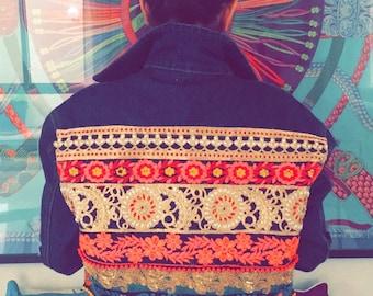 Boho chic jeans jacket