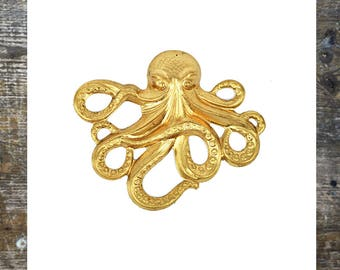 Octopus findings Octopus Jewelry Sea Findings Brass Stamping Jewelry making (1 pc)