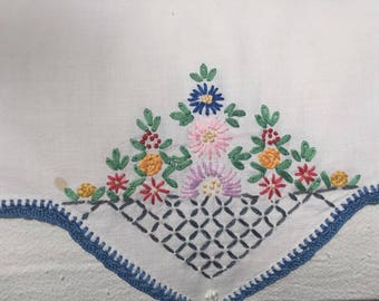 Vintage Hand Embroidered Lattice Work Doily Pillow
