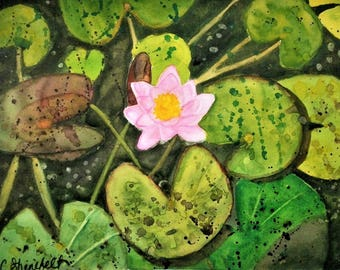 "Lily pond Waterlily painting Watercolor painting Garden art Under 100 dollars Free shipping US ""Center of attention"""