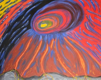 CERN - Hand-Painted Gallery-Wrapped Abstract Oil Painting On Efalin