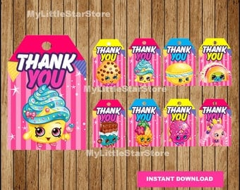 Shopkins Thank you tags, Printable Shopkins tags, Shopkins party tags Instant download