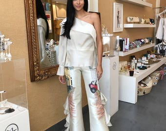 Gazal Off White Top With Podesua Hand Painted Pants