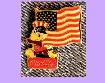 USA Flag Pin with Mascot Sam the Eagle from 1984 Olympics at Los Angeles ~ Sponsor ~ Coca Cola