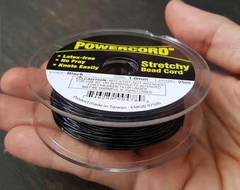 25 meters powercord stretchy beads cord black, Size 1.0mm.