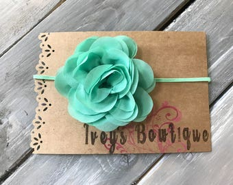 Mint skinny elastic and flower headband