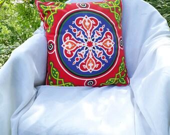 Blue cushion - Egyptian Red cushion - printed khayameya - Arabic cushion - ethnic cushion - pillow in the world - cotton