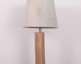 Rustic wooden lamp base of eucalyptus, cowhide Lampshade grey