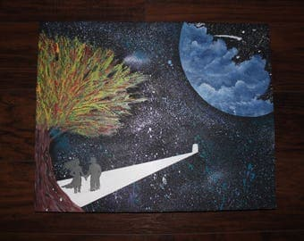 Abstract painting acrylic on canvas starry sky