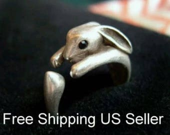 Adjustable Bunny Ring, Rabbit Ring, great gift, adjustable bunny ring, animal wrap ring