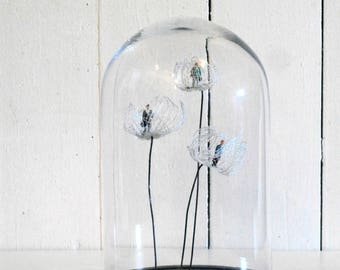 Bell Jar with glass flowers
