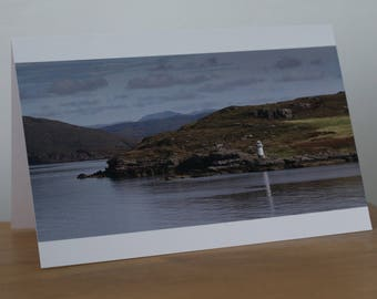 Rhue Lighthouse, Ullapool, Scotland, Autumn, Calm Seas, Landscape, blank card