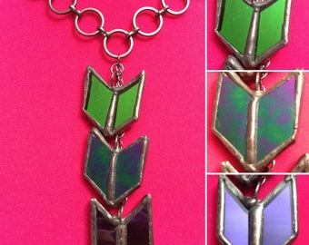 Mini Chevron Stained Glass Necklace