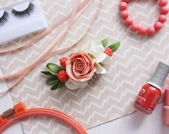 Flower comb, Flower jewelry, Bridal Hair Comb,Flowers for hair, Flowers for wedding, Wedding Headpiece, Цветы в прическу