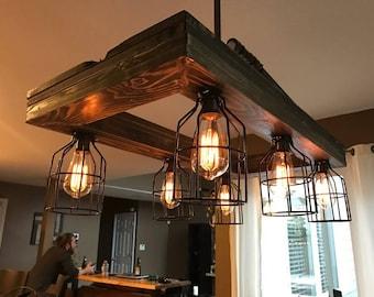 Handmade industrial light fixture with edison bulbs
