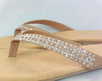 Luxury bespoke leather sandals encrusted with authentic Czech crystals into a checkered design