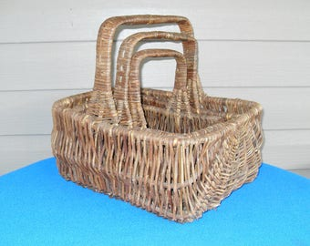 3 Primitive Vintage Handled Rectangle Nesting Twig Baskets