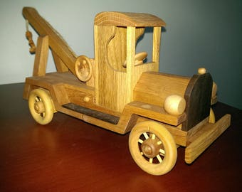 Wood toy wrecker truck