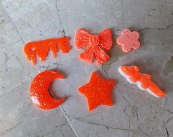 6 fluorescent orange resin Cabochons with Glitter for Decoden, moulds, decoration. Candy, moon, Star, Snowflake, flower and Cute. HANDMADE