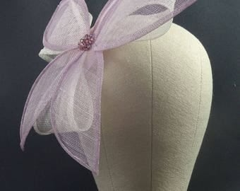 Dusky pink and white fascinator hat, handmade floral headpiece