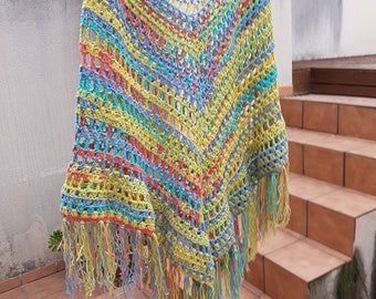 Cotton crochet poncho