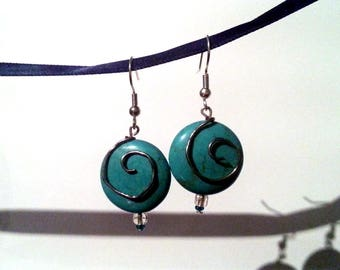 Natural Turquoise Spiral Earrings #003
