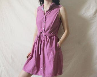 90s Levis Fuchsia Dress with Pockets, Small