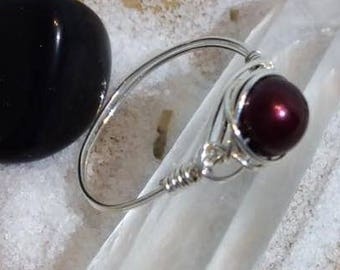 Single Pearl Wire Wrapped Ring