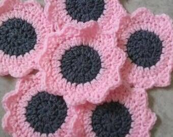 Set of 6 Pink Daisy Coasters