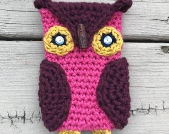 Owl Phone Cozy / Crochet / Handmade / Birthday Gift Idea / iPhone 5 or 5s / Iphone 6 or 6s / iPhone 7 / Teen Gift Idea / Women's Gift Idea