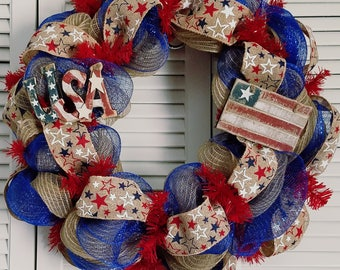 July 4th Celebration! Front Door Patriotic Deco Mesh Wreath, 4th of July Wreath, Independence Day Celebration Wreath, Red White and Blue