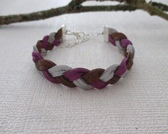 Suedette bracelet braided 3 colors