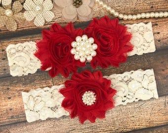 Red Garter Belt, Bridal Garter Set , red ivory Lace Garter, Keepsake Garter, Toss Garter, red Wedding Garter,