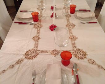 Vintage embroidery and crochet tablecloth