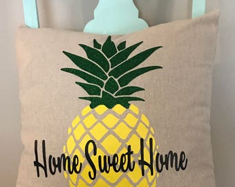 Pineapple Home Sweet Home Pillow Cover/ Decorative Pillow Cover